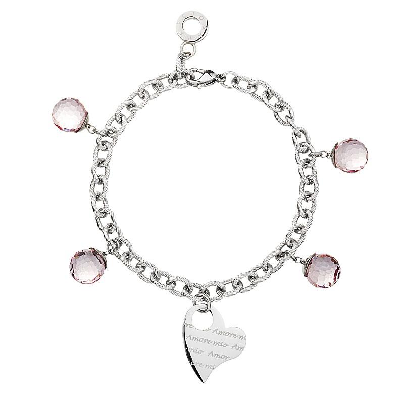 Armkette, Armband Model Amore Mio Crystal Rosa, 190mm. Edelstahl (7024 69)
