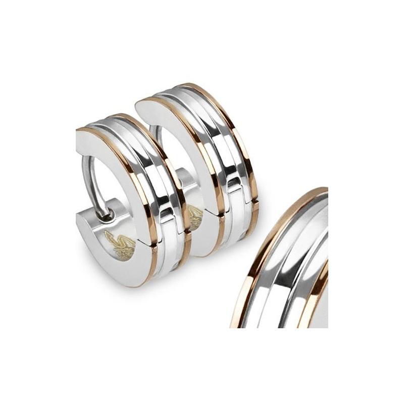 Ohrringe / Damenohrringe Edelstahl / Creolen silber und rose gold